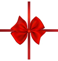 Red Bow Gift Isolated On White vector image vector image