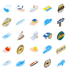 Rest on the sea icons set isometric style vector