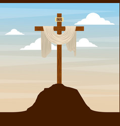 Sacred cross in hill sky catholic religion design vector