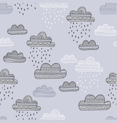 seamless pattern with rainy clouds vector image