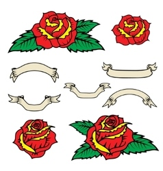 Set of the old school style roses with leaves vector