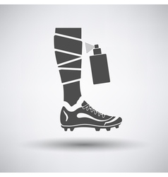 Soccer bandaged leg with aerosol anesthetic icon vector image vector image