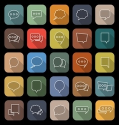 Speech Bubble line flat icons with long shadow vector image vector image