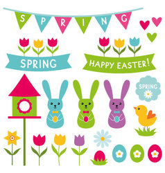 Spring and Easter design elements set vector image
