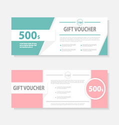 Sweet Pink green Gift voucher ticket template set vector image vector image