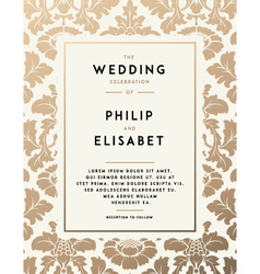 Vintage wedding invitation template vector