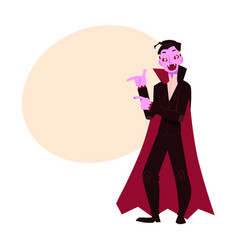 Young man dressed as dracula vampire halloween vector