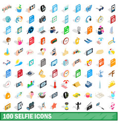 100 selfie icons set isometric 3d style vector image vector image