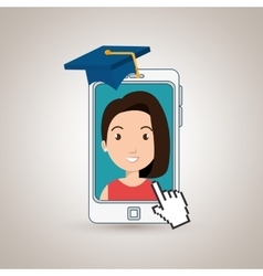 Woman student smartphone apps vector