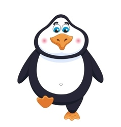 Kind cheerful cute penguin walks fat birdie takes vector