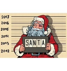 Criminal santa claus arrested 2017 new year vector