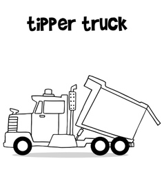 Tipper truck with hand draw vector image