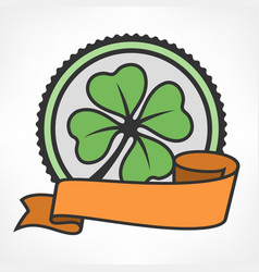 Green lucky four leaf irish vector
