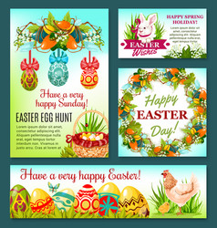 Easter egg hunt rabbit cartoon banner template vector