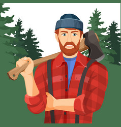 Axeman with axe in forest lumberman with element vector