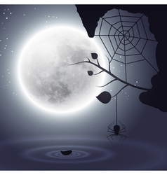 Halloween background with moon and spider vector