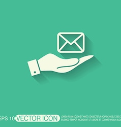 Hand holding a postal envelope e-mail symbol icon vector