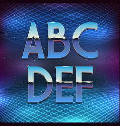 Thin chrome alphabet in 80s retro futurism style vector
