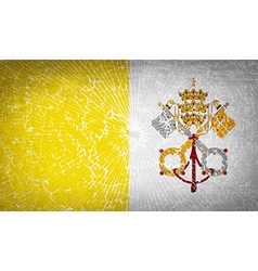Flags vatican cityholy see with broken glass vector