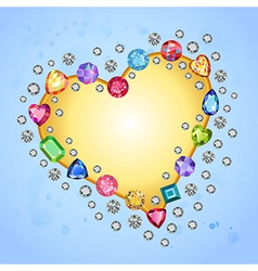 Colored gems heart shape frame vector