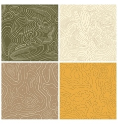 Four seamless topographic map patterns vector