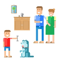 Happy family and dog vector