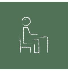 Student sitting on a chair in front of the desk vector