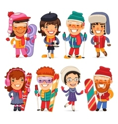 Cute cartoon skiers skaters and snowboarders vector