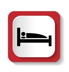 Sign with a picture of a bed vector