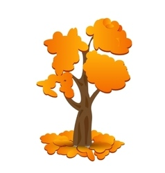 A stylized drawing of a yellow autumn oak Fallen vector image vector image