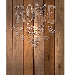 Beautiful text Home sweet home with flowers hand l vector image