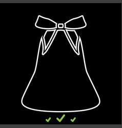 bell with bow ribbon it is white icon vector image