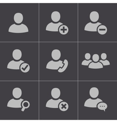 black people icons set vector image vector image