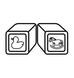 blocks cubes toy icon vector image vector image