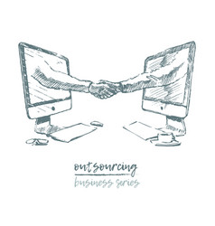 Business concept outsourcing handshake vector