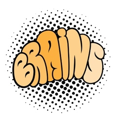 Cartoon brain typography vector image