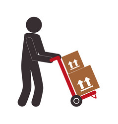 Color pictogram with messenger and hand truck with vector