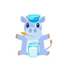 Cow in hat sitting with glass of milk vector