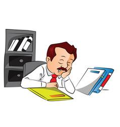 employee sleeping with files on desk vector image vector image