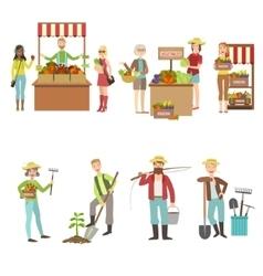 Farm vegetables market and people farming set vector