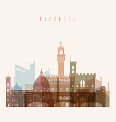 Florence skyline detailed silhouette vector