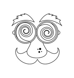 funny face glasses mustache vector image