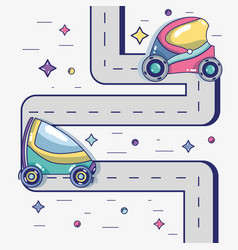 Futuristic cars on the street with modern element vector