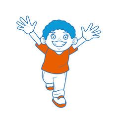 Happy boy with big smile celebration cartoon vector