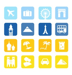 landmark travel icons vector image vector image