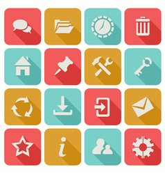 Long shadow flat icons set 1 vector