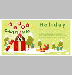 Merry Christmas Greeting background with dog vector image vector image