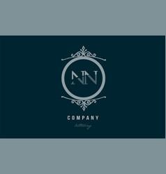 nn n n blue decorative monogram alphabet letter vector image