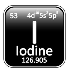 Periodic table element iodine icon vector