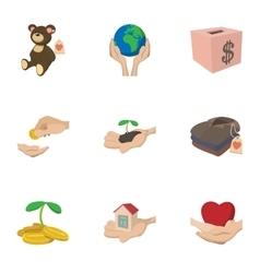 Philanthropy icons set cartoon style vector image vector image